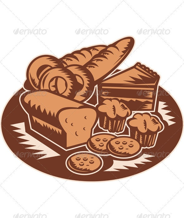 Plate Full of Pastries and Bakery Products Woodcut - Food Objects