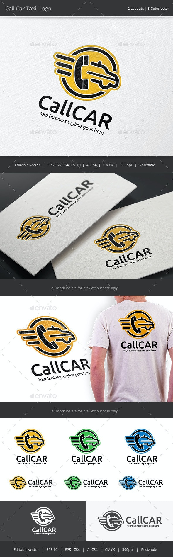 Call Taxi Car Logo - Objects Logo Templates