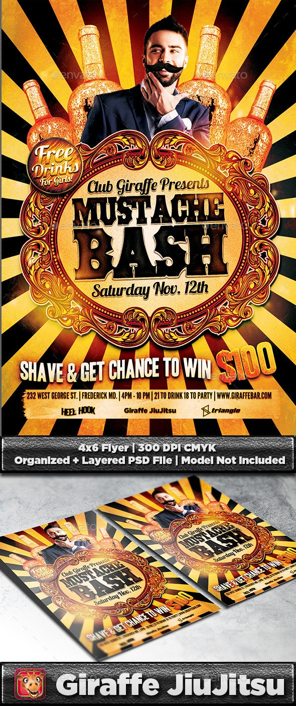 Mustache Bash Flyer Template - Clubs & Parties Events