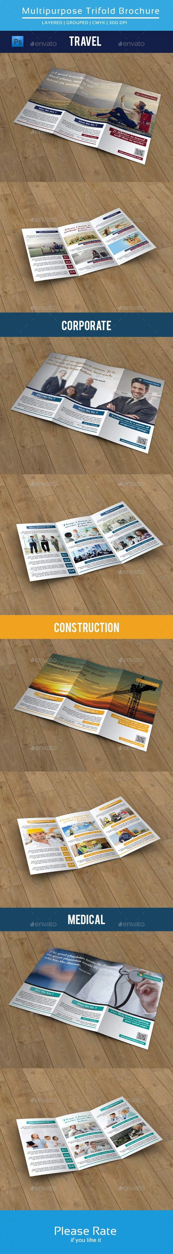Clean Multipurpose Trifold Brochure-V79 - Corporate Brochures