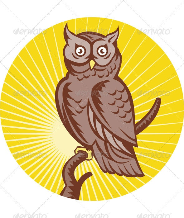 Great Horned Owl Front View Woodcut Style - Animals Characters