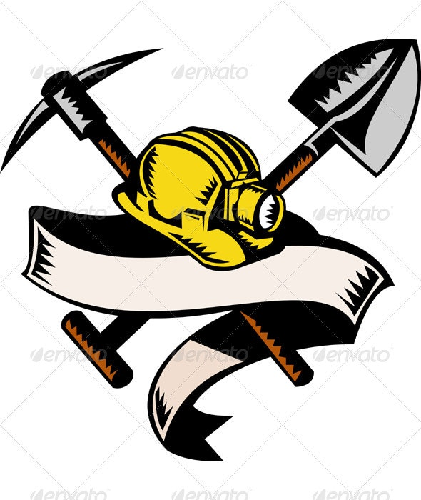 Miner Hard Hat Pick Ax and Shovel Woodcut Style - Industries Business