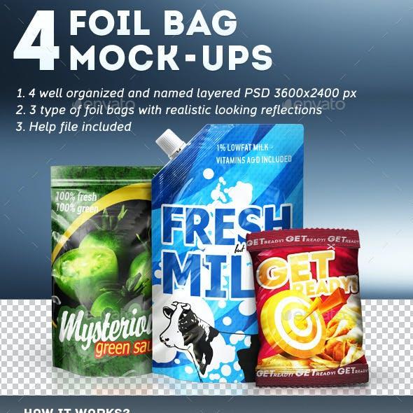 4 Foil Bag Mock-ups