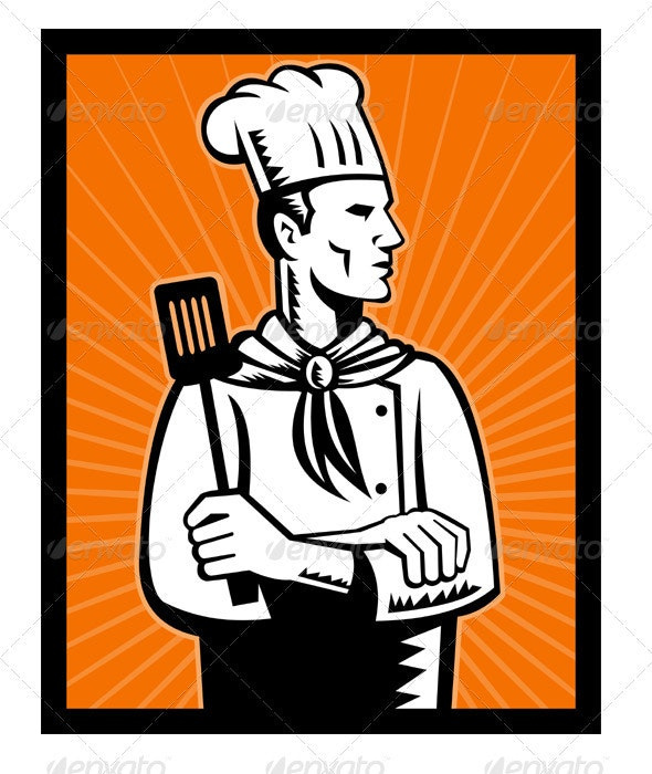Chef Baker Cook With Spatula Retro Style - Sports/Activity Conceptual