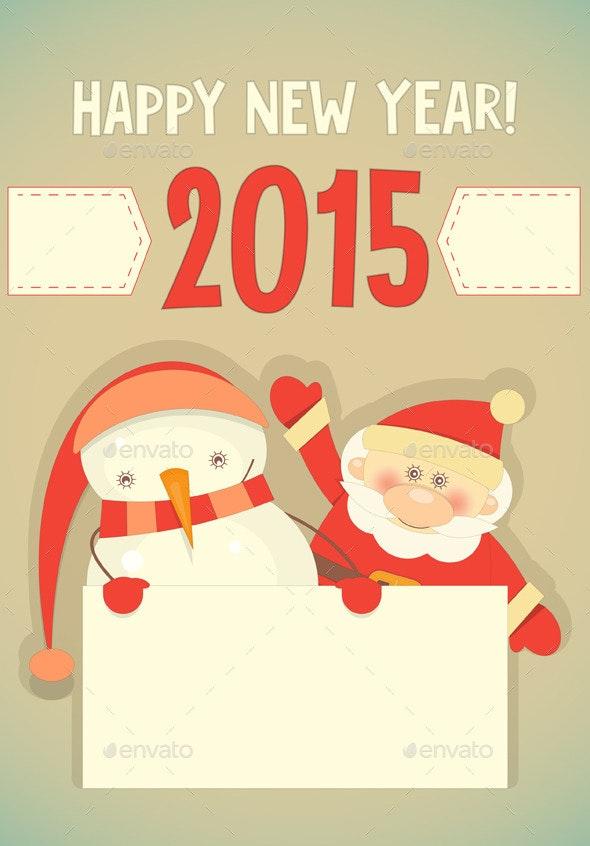 Santa Claus and Snowman - New Year Seasons/Holidays