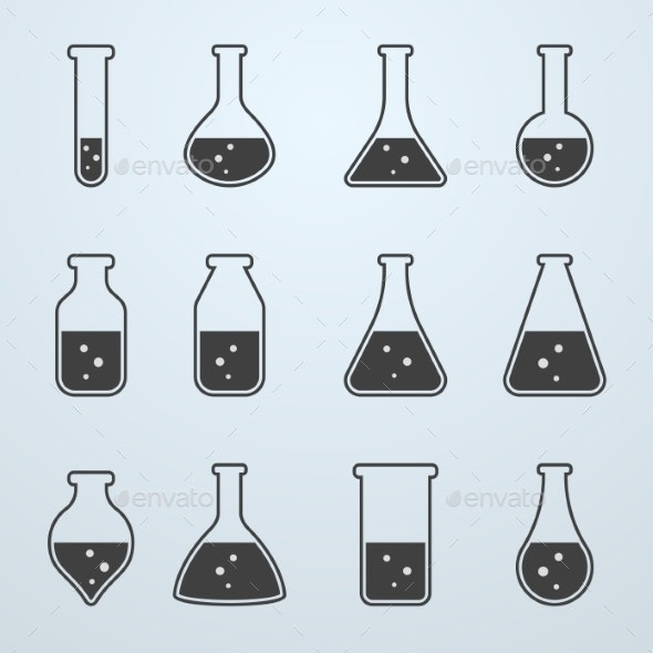 Chemical, Biological Science Laboratory Equipment  - Objects Vectors