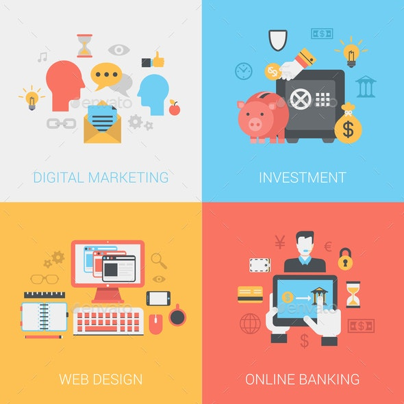 Digital Marketing Investments Web Design Online Banking Concept - Concepts Business