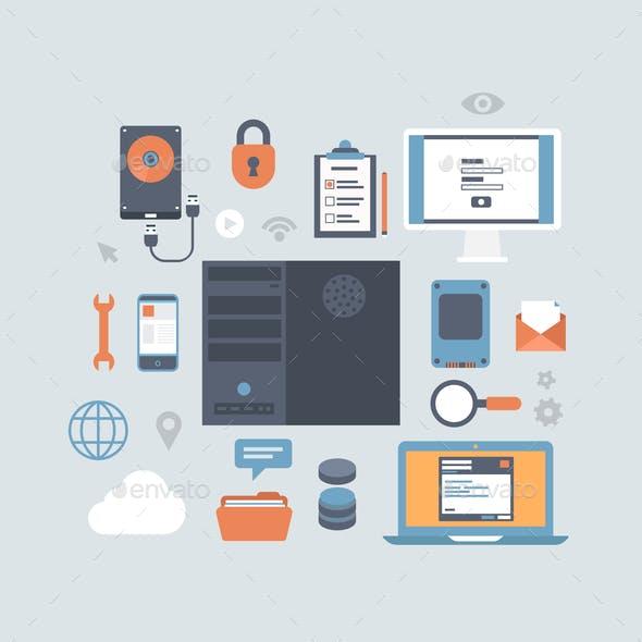 Server Computing Hosting Modern Flat Style Equipment