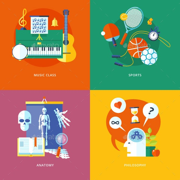 Flat School and Education Icons Set - Conceptual Vectors