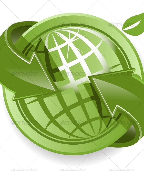 Globe and Green Arrows - Web Elements