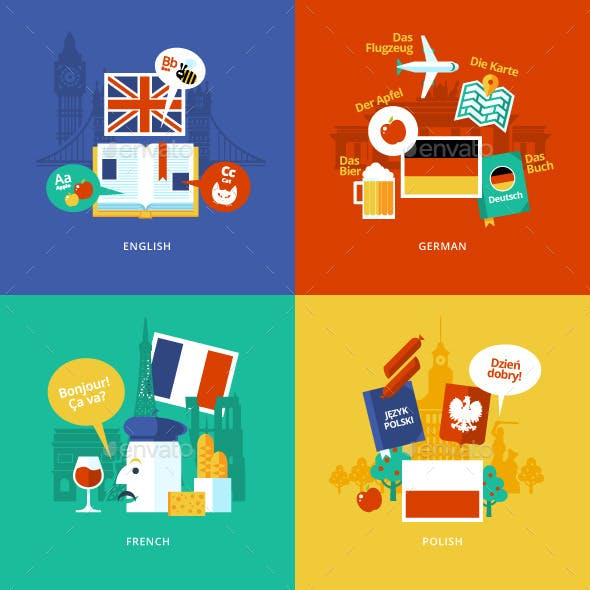 Flat Languages Lessons Icons.