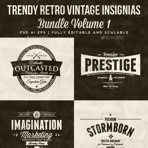 33 Trendy Retro Vintage Insignias Bundle Volume 1