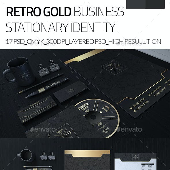 Retro Gold Corporate Business Stationary Identity