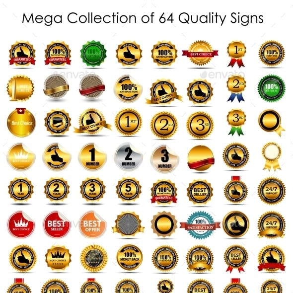 Collection of 64 Quality Label Signs