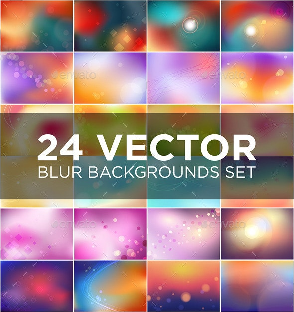 24 Vector Blur Background Set - Abstract Conceptual