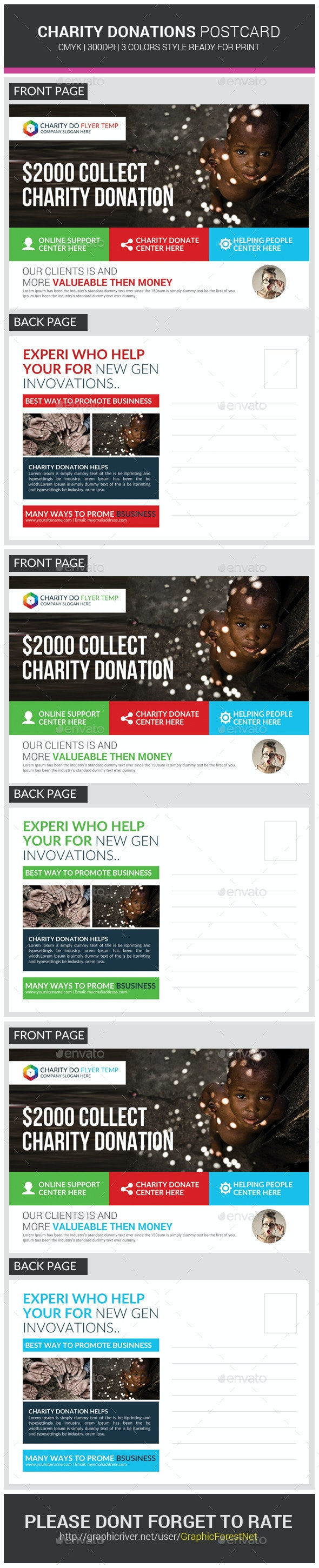 Charity Donation Postcards Template - Cards & Invites Print Templates