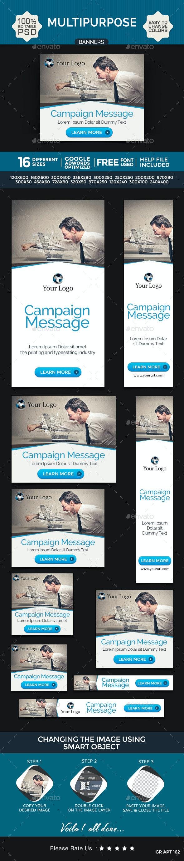 Multi Purpose Banner Design Set - Banners & Ads Web Elements