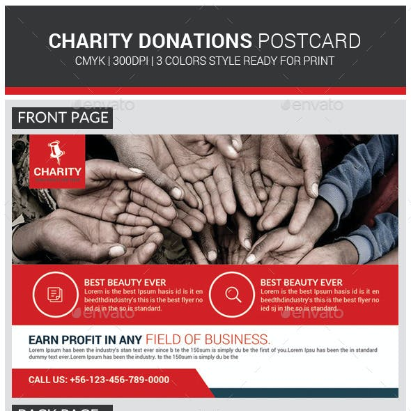 Charity Donation Postcards Template