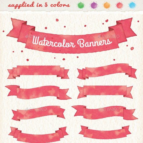 Watercolor Banners & Ribbons