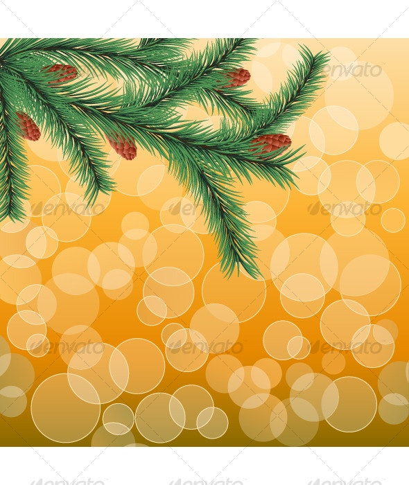Floral background with a fir twig - Seasons Nature