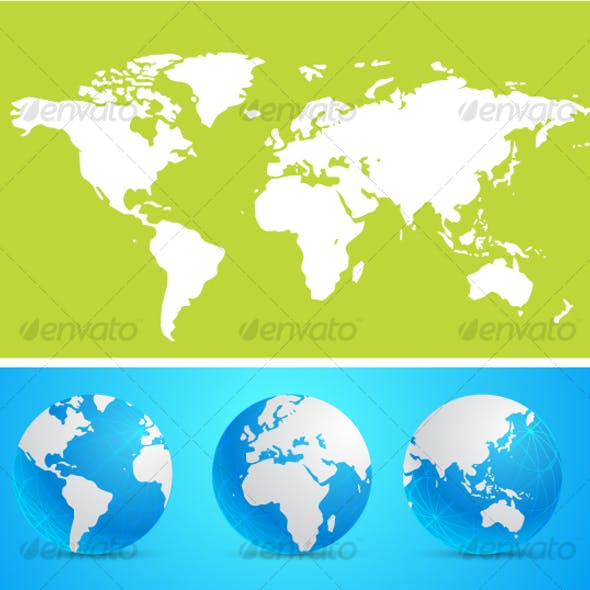 Digital World Map Background And World Globe