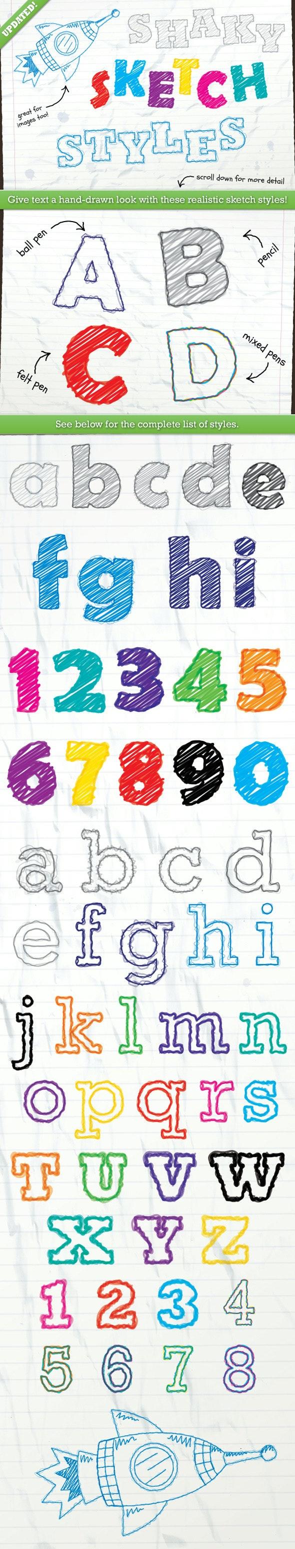 Shaky Sketch Text Styles - Styles Illustrator