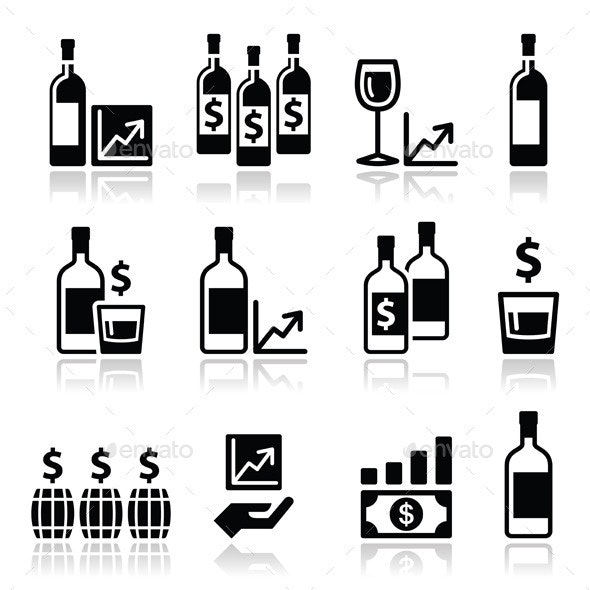 Alternative Investments - Wine and Whisky Icons - Concepts Business
