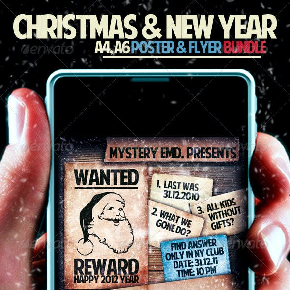 Christmas And New Year Poster/ Flyer Bundle