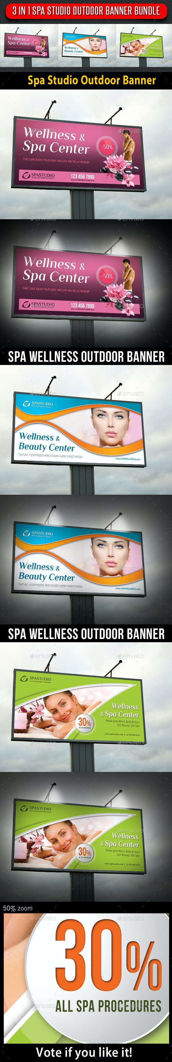 3 in 1 Spa Studio Outdoor Banner Bundle - Signage Print Templates