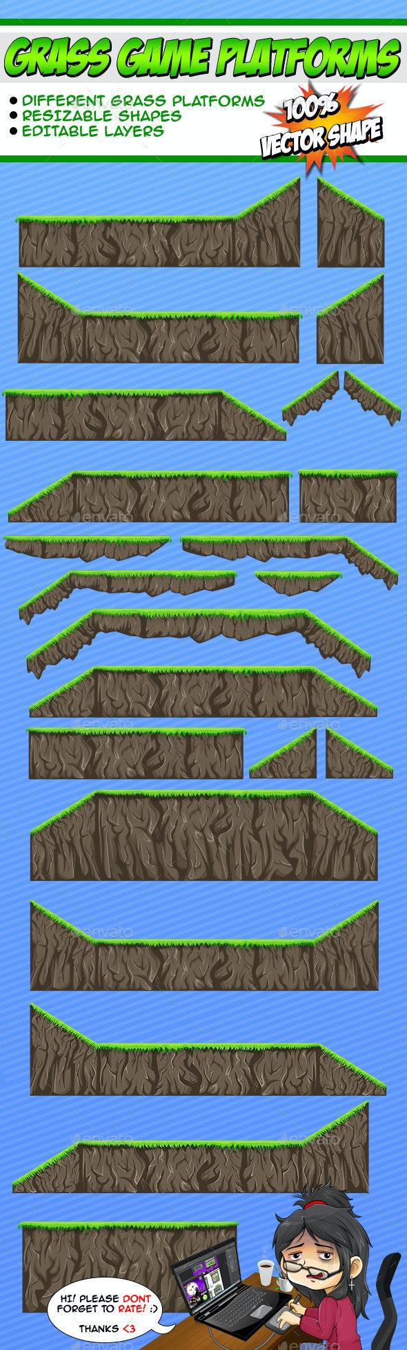 Grass Game Platforms - Tilesets Game Assets