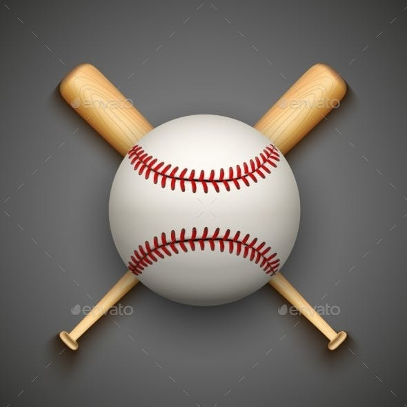 Baseball Leather Ball and Bat
