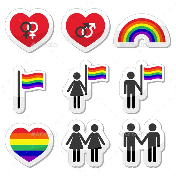 Gay and Lesbian Couples, Rainbow Vector Icons