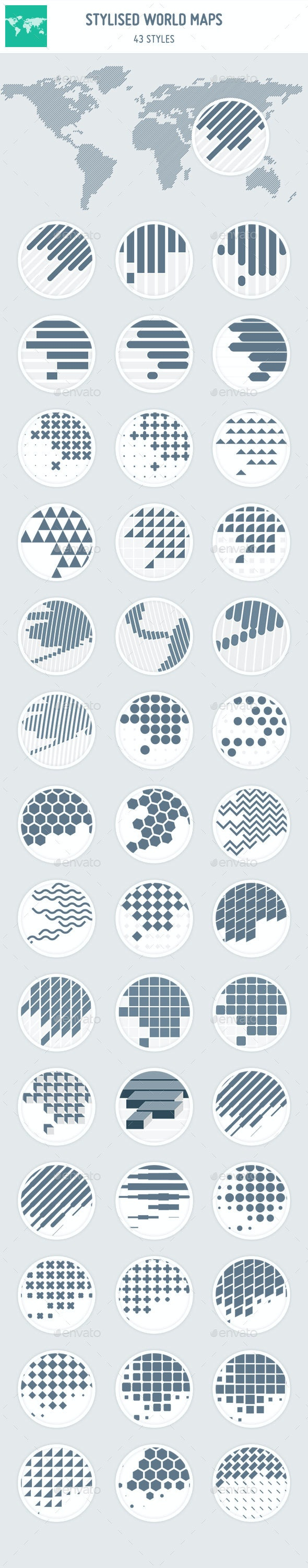 43 Stylised World Maps - Objects Vectors