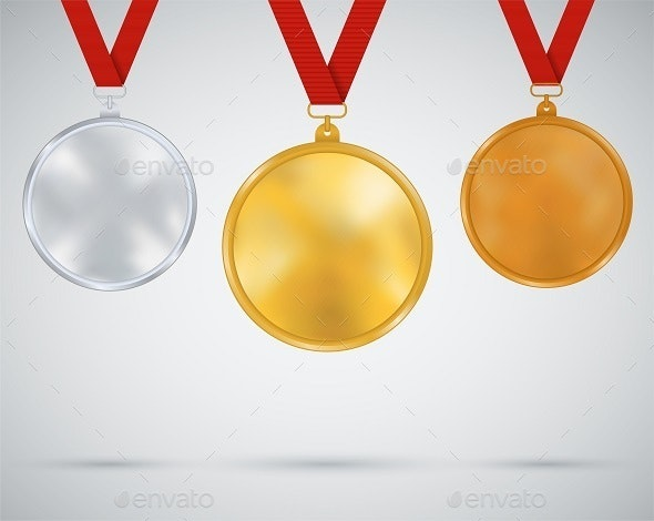 Set of Medals, Gold, Silver, Bronze - Sports/Activity Conceptual