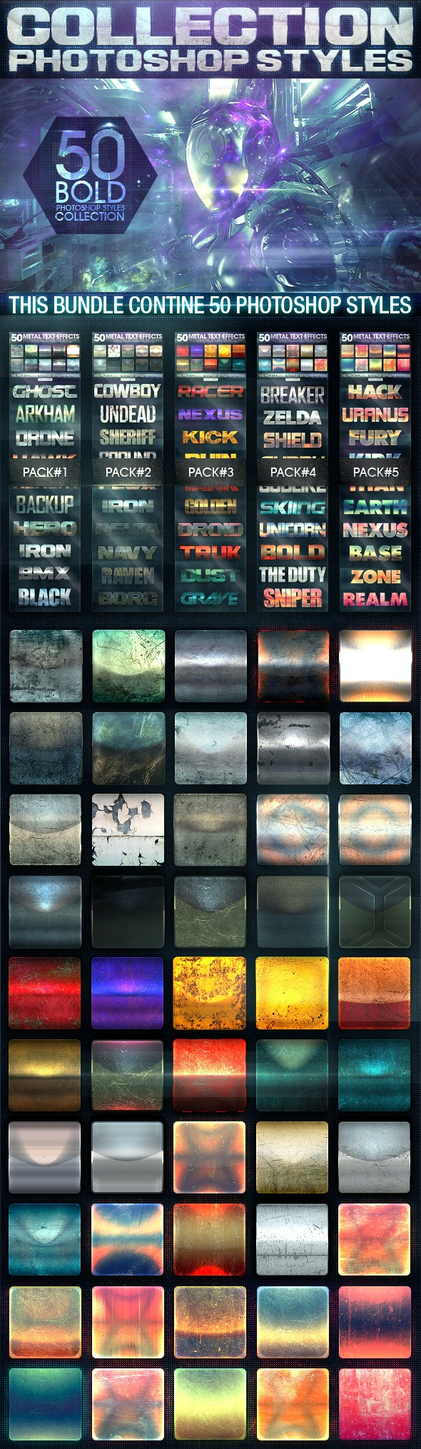 50 Metal Text Effects [Bundle V1] - Text Effects Styles