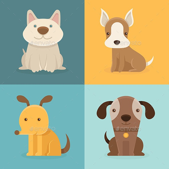 Cartoon Dogs in Flat Style - Animals Characters