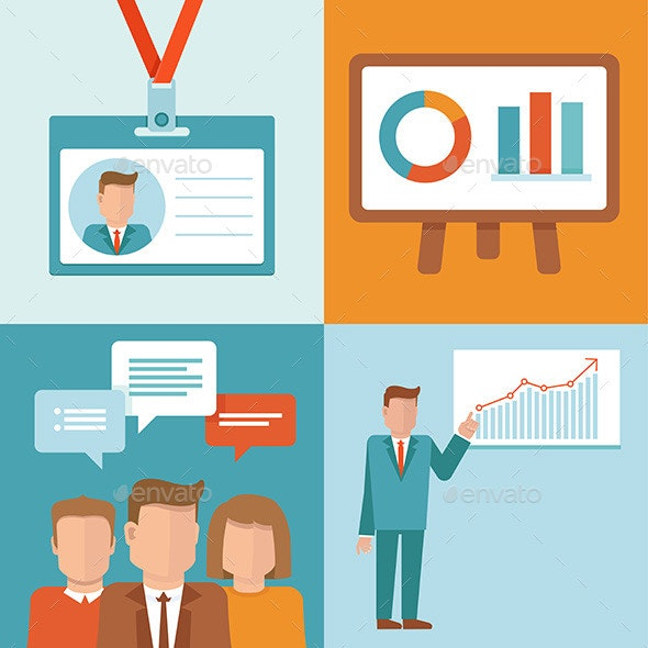 Vector Conference Concepts in Flat Style  - Business Conceptual