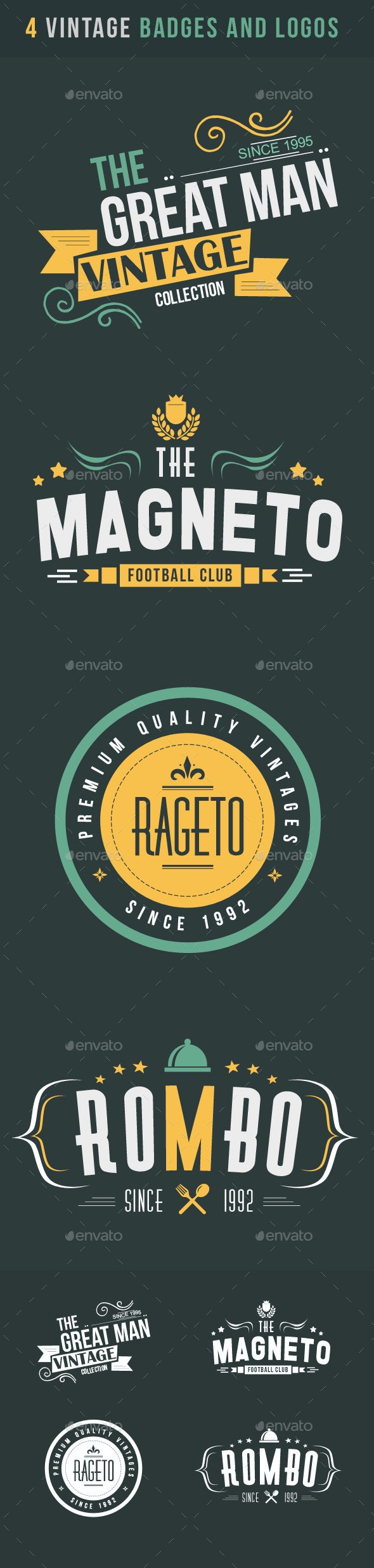 4 Vintage Badges And Logos - Badges & Stickers Web Elements