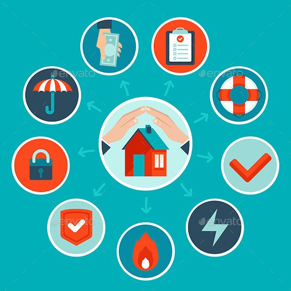 Vector House Insurance Concept in Flat Style - Business Conceptual