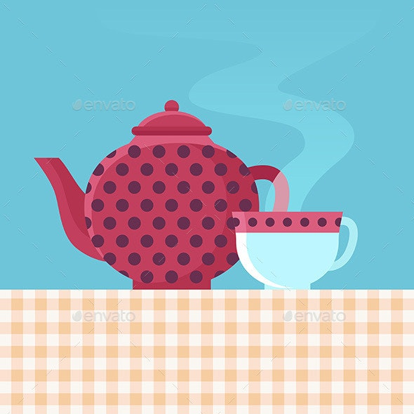Tea Pot and Cup - Decorative Vectors