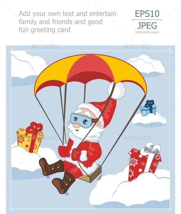Santa Claus Flies on Parachute - People Characters