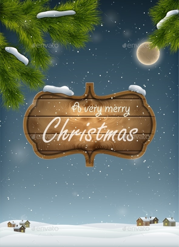 Christmas Landscape With Wooden Board - Christmas Seasons/Holidays