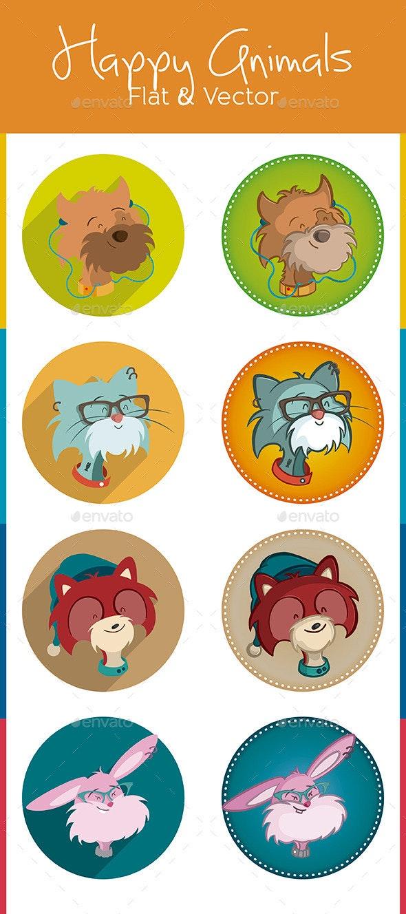 Heads Happy Animals - Animals Characters