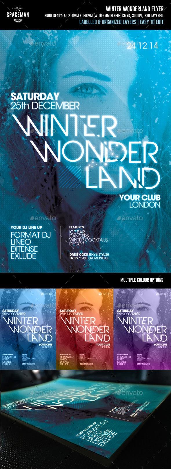 Winter Wonderland Flyer - Clubs & Parties Events