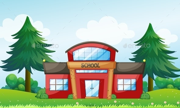 Red School Building - Buildings Objects