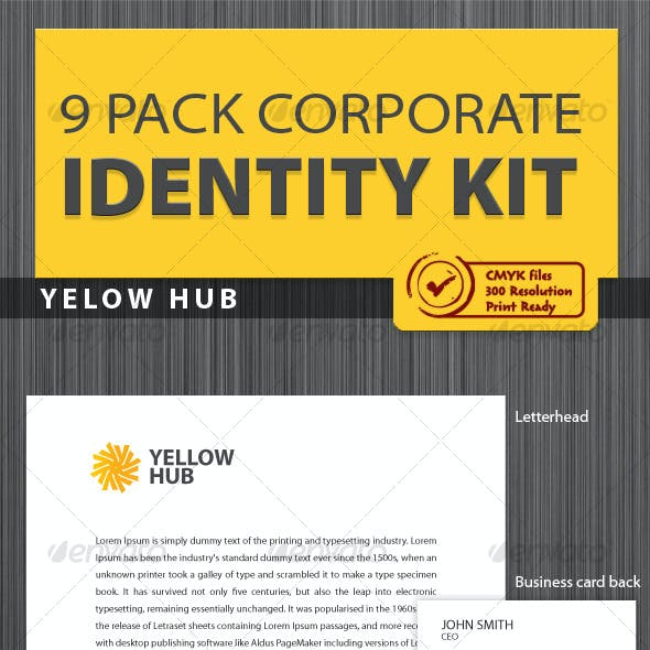 Yellow Hub Corporate Identity [ 9 Pack ]
