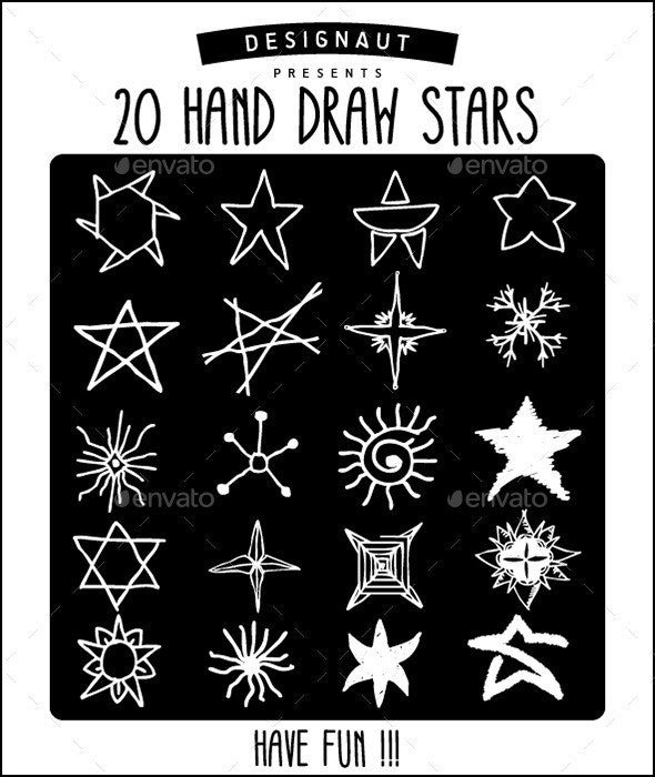 20 Hand Draw Stars - Miscellaneous Characters