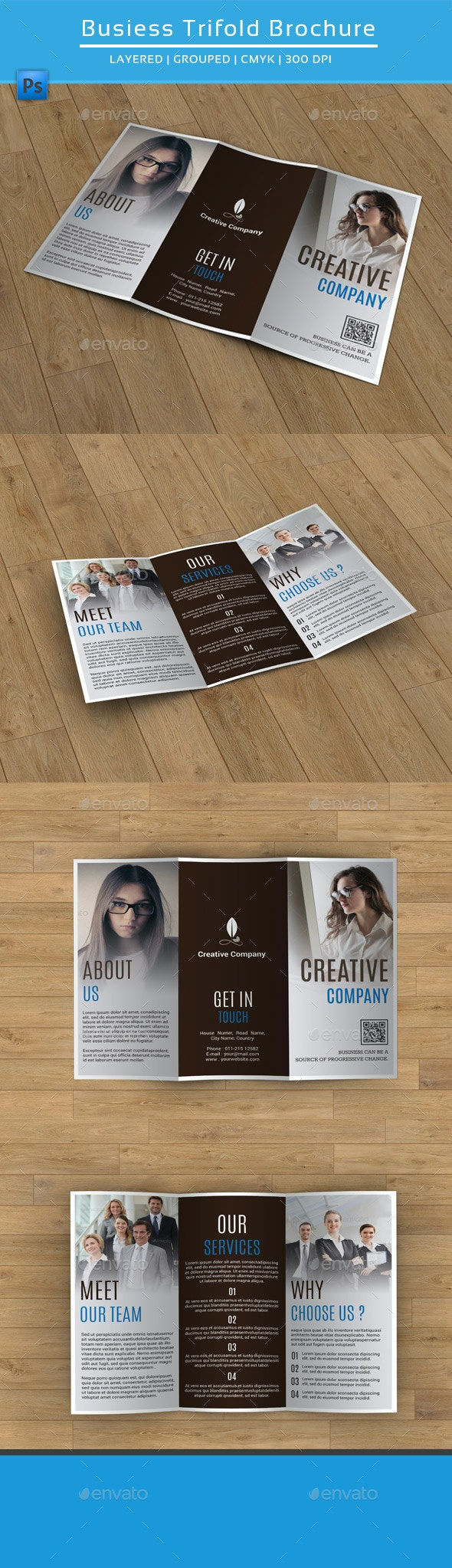 Clean Business Trifold Brochure-V181 - Corporate Brochures
