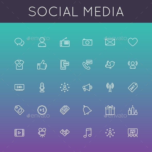 Vector Social Media Line Icons - Media Icons