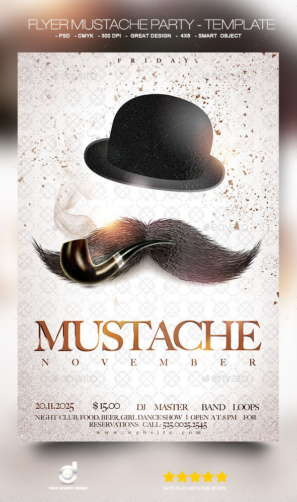 Flyer Mustache Party - Template - Events Flyers